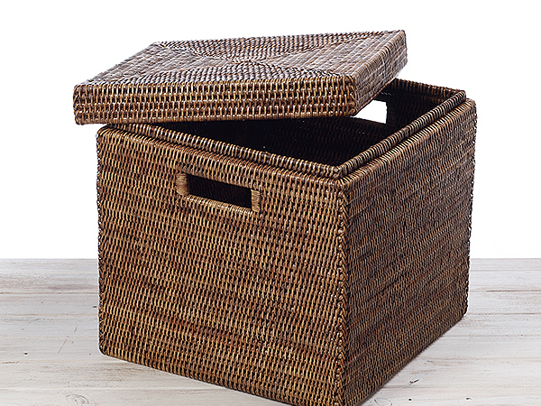 Square Rattan Storage Box with Lid