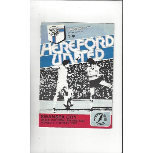 1981 Hereford United v Swansea City Welsh Cup Final Football Programme