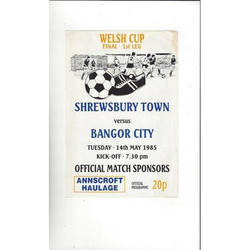 1985 Shrewsbury Town v Bangor City Welsh Cup Final Football Programme