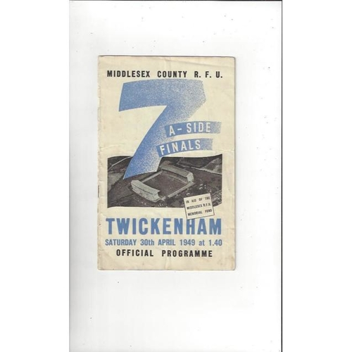 1949 Middlesex Sevens Rugby Union Programme