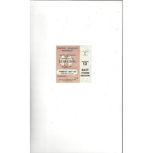 1966 World Cup 26th July Semi Final Match Ticket @ Wembley