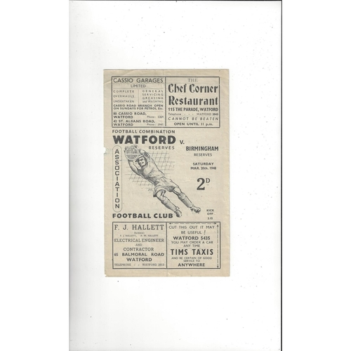 1947/48 Watford v Birmingham City Reserves Football Combination Programme