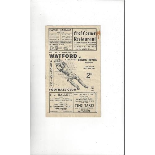 1947/48 Watford v Bristol Rovers Reserves Football Combination Programme