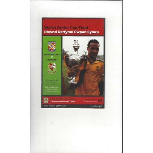 2008 Bangor City v Llanelli Welsh Cup Final Football Programme