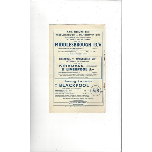 1953/54 Manchester City v Burnley Football Programme