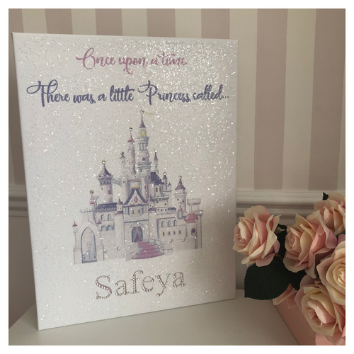 Glitter Canvas Princess Castle Personalised