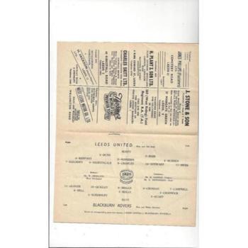 1952/53 Leeds United v Blackburn Rovers Football Programme