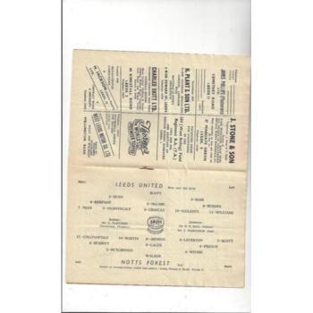 1952/53 Leeds United v Nottingham Forest Football Programme. Nov. Abandoned
