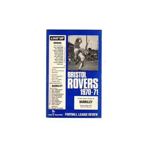 1970/71 Bristol Rovers v Barnsley Football Programme