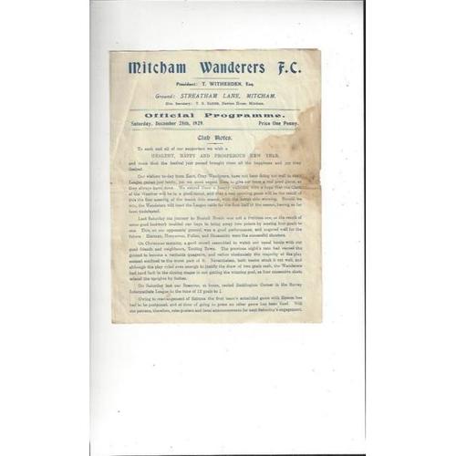 Mitcham Wanderers Home Football Programmes