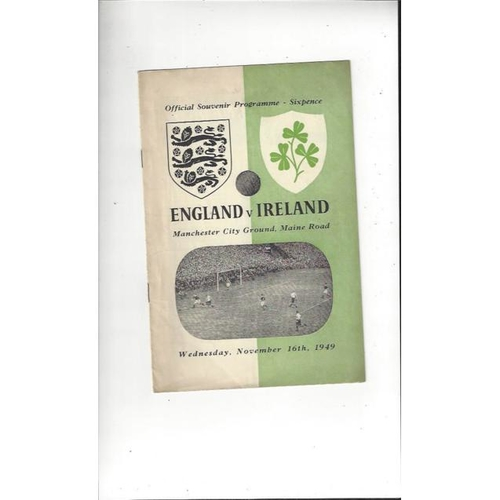 1949 England v Northern Ireland Football Programme @ Manchester City