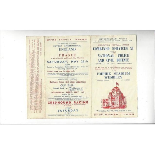 1945 Combined Services v National Police & Civil Defence Friendly Football Programme