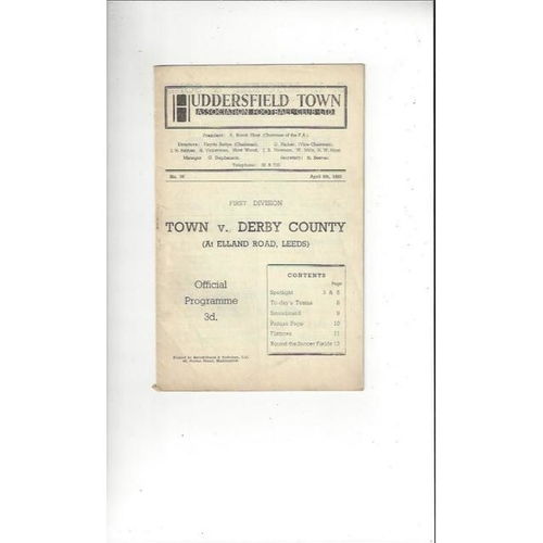 1949/50 Huddersfield Town v Derby County Football Programme @ Leeds United