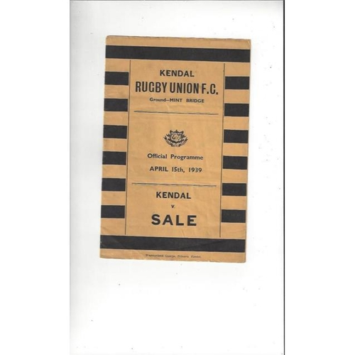 1939 Kendal v Sale Rugby Union Programme