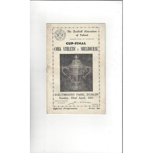 1951 Cork Athletic v Shelbourne FAI Cup Final Football Programme