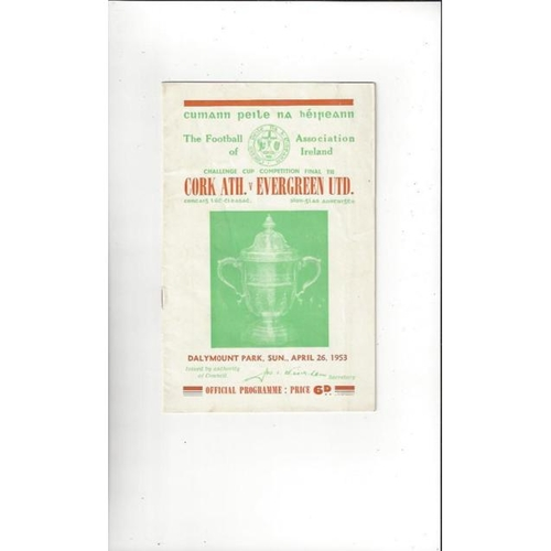 1953 Cork Athletic v Evergreen United FAI Cup Final Football Programme