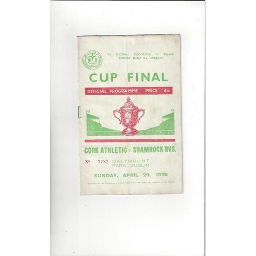 1956 Cork Athletic v Shamrock Rovers FAI Cup Final Football Programme