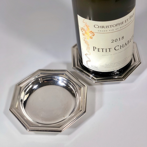 Pair of Christofle silver plated wine coasters