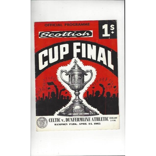 1965 Celtic v Dunfermline Athletic Scottish Cup Final Football Programme