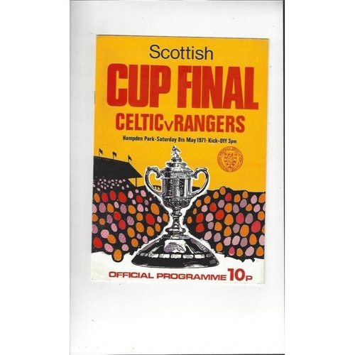 1971 Celtic v Rangers Scottish Cup Final Football Programme