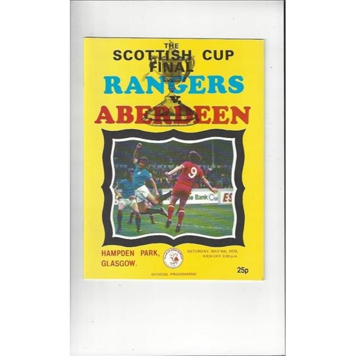 1978 Rangers v Aberdeen Scottish Cup Final Football Programme