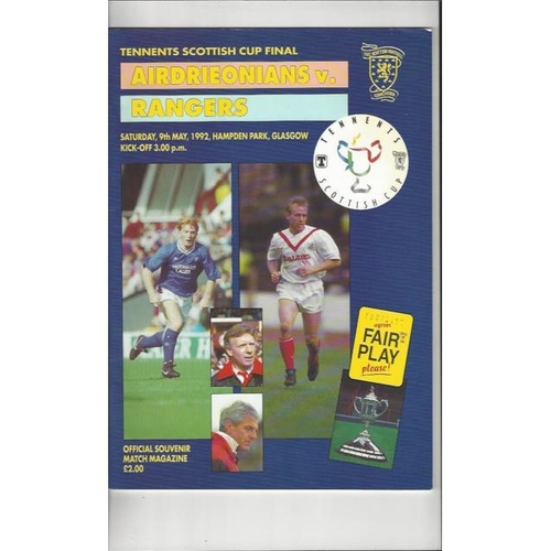 1992 Airdrie v Rangers Scottish Cup Final Football Programme