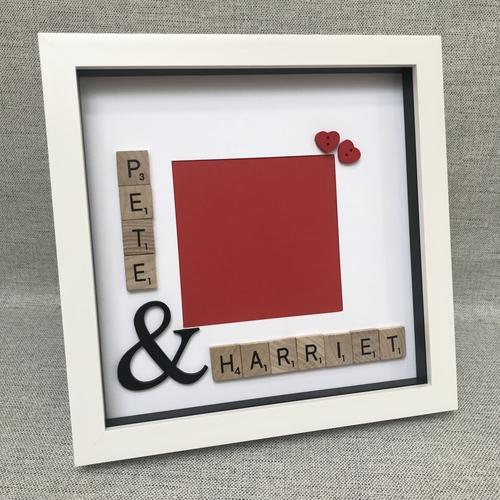 Scrabble names photo frame