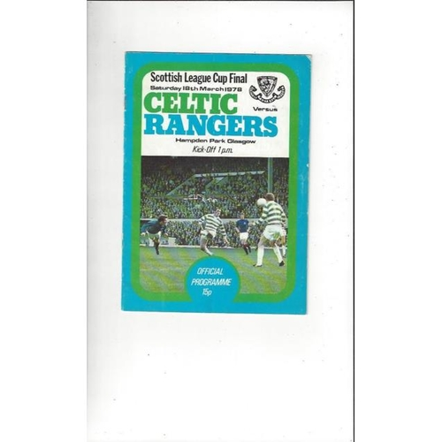 1978 Celtic v Rangers Scottish League Cup Final Football Programme