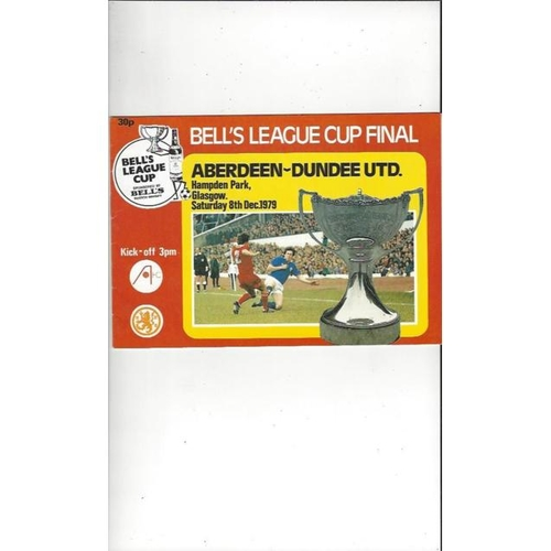 1979 Aberdeen v Dundee United Scottish League Cup Final Football Programme Dec.
