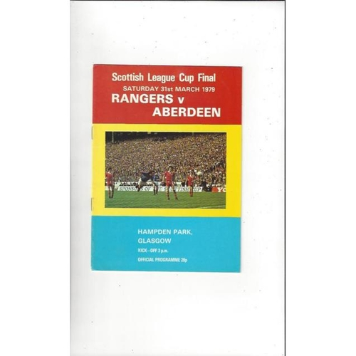1979 Rangers v Aberdeen Scottish League Cup Final Football Programme. March
