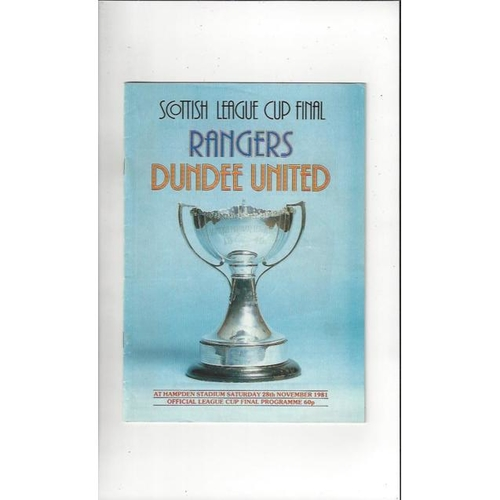 1981 Rangers v Dundee United Scottish League Cup Final Football Programme