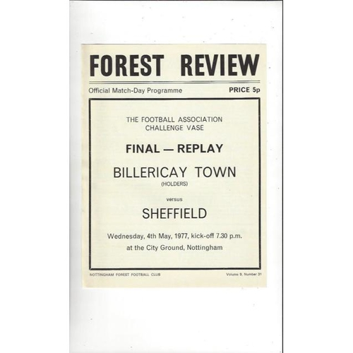 1977 Billericay Town v Sheffield FC FA Vase Final Replay Football Programme