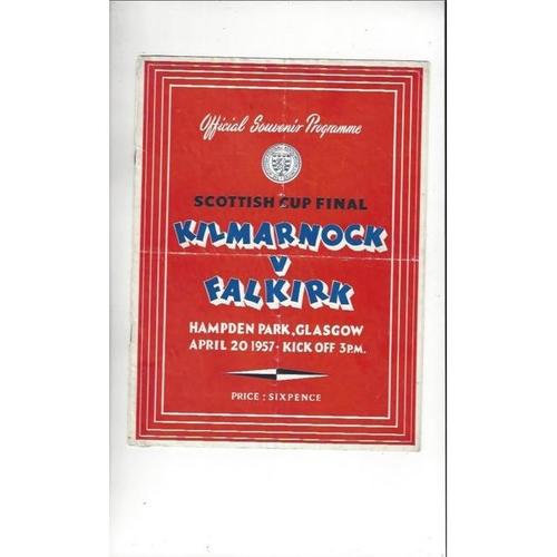 1957 Kilmarnock v Falkirk Scottish Cup Final Football Programme