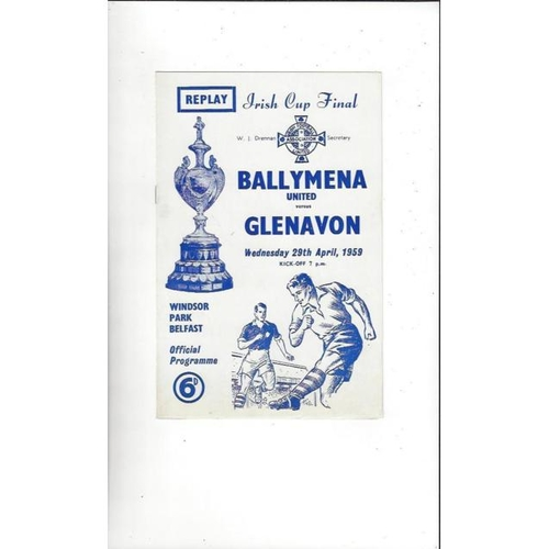 1959 Ballymena United v Glenavon Irish Cup Final Replay Football Programme