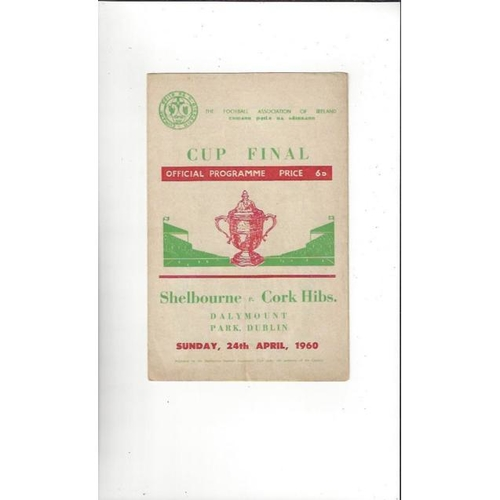 1960 Shelbourne v Cork Hibernians FAI Cup Final Football Programme