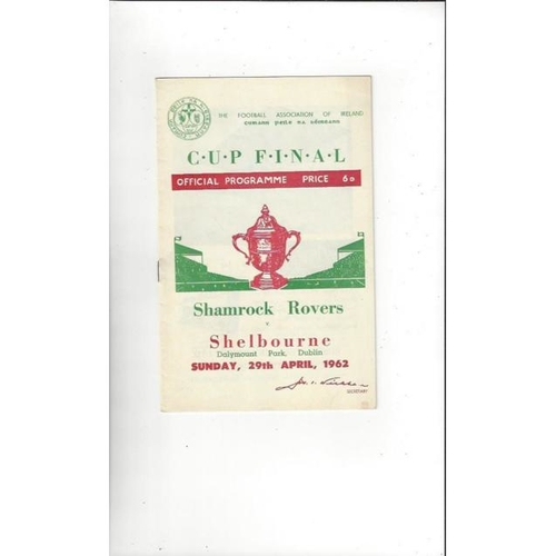 1962 Shamrock Rovers v Shelbourne FAI Cup Final Football Programme