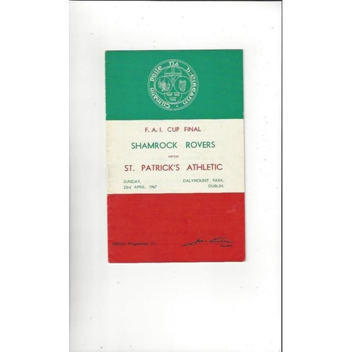 1967 Shamrock Rovers v St Patrick's Athletic FAI Cup Final Football Programme