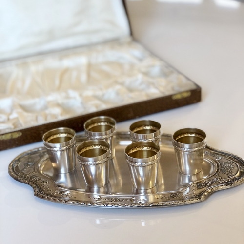 French tot liqueur set and tray Circa 1890s