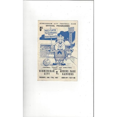 1966/67 Birmingham City v Queens Park Rangers League Cup Semi Final Football Programme
