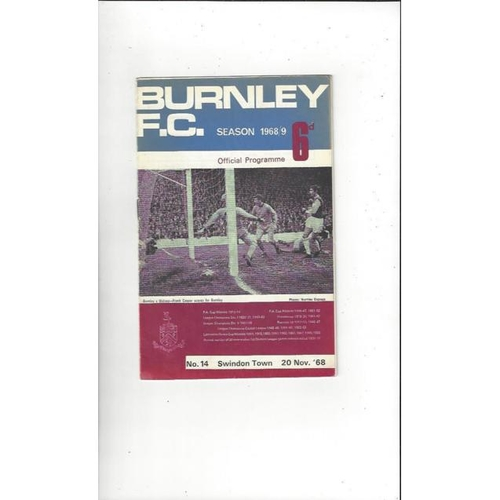 1968/69 Burnley v Swindon Town League Cup Semi Final Football Programme