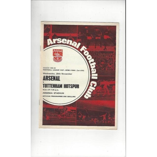 1968/69 Arsenal v Tottenham Hotspur League Cup Semi Final Football Programme