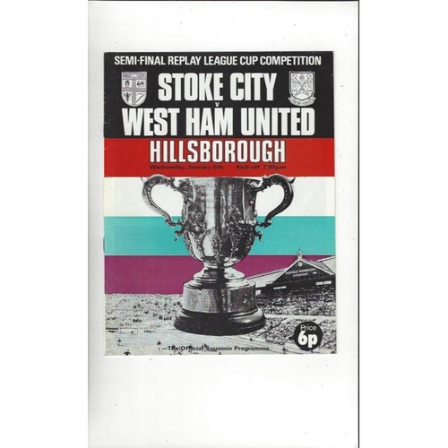 1971/72 Stoke City v West Ham United League Cup Semi Final Replay Programme