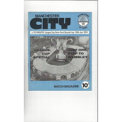 1973/74 Manchester City v Plymouth League Cup Semi Final Football Programme