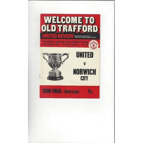1974/75 Manchester United v Norwich City League Cup Semi Final Football Programme