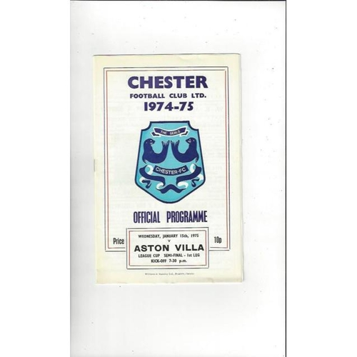 1974/75 Chester v Aston Villa League Cup Semi Final Football Programme
