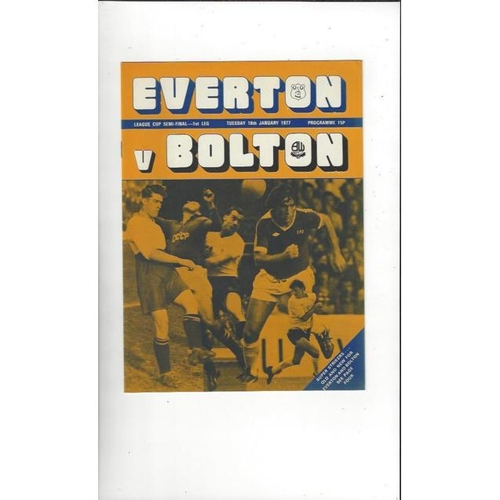 1976/77 Everton v Bolton Wanderers League Cup Semi Final Football Programme