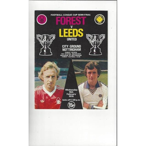 1977/78 Nottingham Forest v Leeds United League Cup Semi Final Football Programme