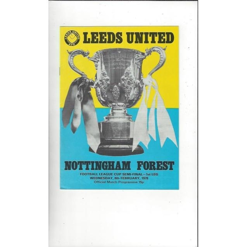 1977/78 Leeds United v Nottingham Forest League Cup Semi Final Football Programme