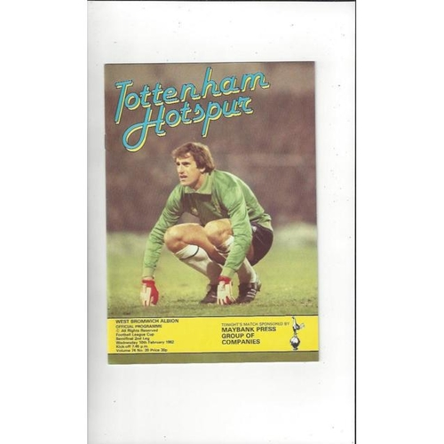 1981/82 Tottenham Hotspur v West Bromwich Albion League Cup Semi Final Football Programme