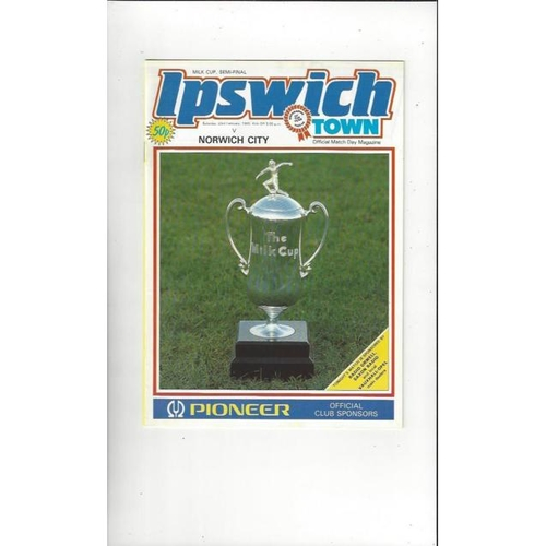 1984/85 Ipswich Town v Norwich City League Cup Semi Final Football Programme